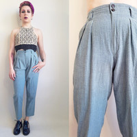 80s Calvin Klein Pants High Waisted Pants 80s Clothing 1980s Pants Blue Trousers High Rise Trousers 24.5 Waist Size Extra Small Made in USA
