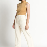 Vintage 90s Ivory White High Waist Pleated Silk Trousers | 4/6