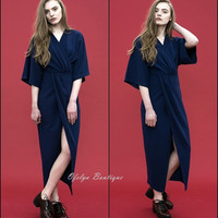 Dark Blue Deep V-neck Folds Kimono Japanese Dress With Long Sleeves and Long Sections Front Split Dress