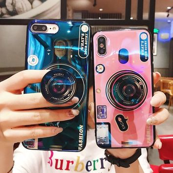 Phone Case For iPhone 6S 6 7 8 X XS Max Plus 10 Case Silicone Cute Camera Stand Holder Cover For iPhone 6 S 6Plus Case