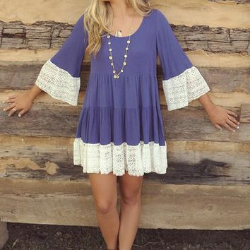 Streetstyle  Casual Purple-Blue Patchwork Lace 3/4 Sleeve Sweet Mini Dress