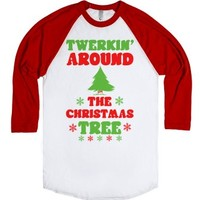 Twerkin' Around the Christmas Tree-Unisex White/Red T-Shirt
