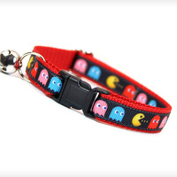 "Cat Collar - ""8-Bit Hero"" - Pac-Man Devouring Ghosts on Red"