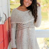 Cream Off Shoulder Knit Tunic