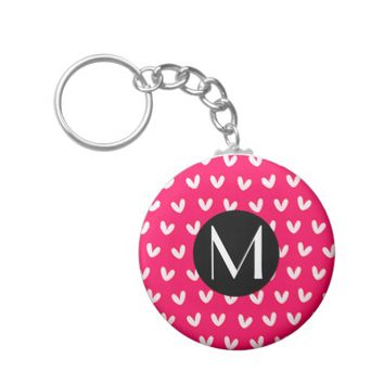 *Cute Pink Monogram With Hearts Background Keychains
