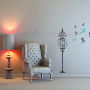 Birds set free wall decal, bird cage wall decal, bedroom wall decal, living room wall decal, dorm room wall decor, bird wall decal, wall art
