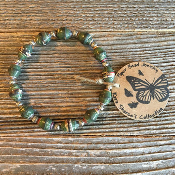 Paper Bead Bracelet, Forest Green Beaded Bracelet, Paper Bead Jewelry, Stretchy Bracelet, Gift for Women, Stocking Stuffer - Item# 056