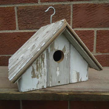 Barn board wood birdhouse - Country wood birdhouse - Weather barn board wood birdhouse - White chipped paint tongue and groove wood boards