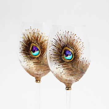 Peacock Wine Glasses Hand Painted Copper,turquoise,Purple,Gold Set of 2
