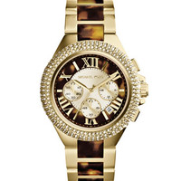 Michael Kors Mid-Size Golden/Tortoise Stainless Steel Camille Chronograph Glitz Watch