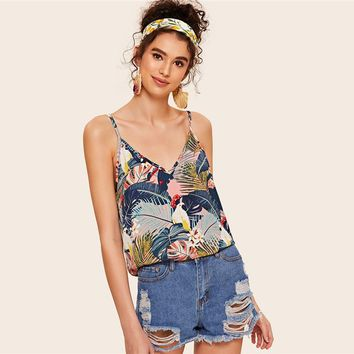 Animal Tropical Print Double V Neckline Cami Top Women Clothing Boho Camisole Spaghetti Strap Tops Camis