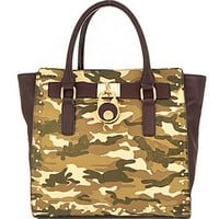 Military Camouflage Trendy Handbag w/ Lock Accent Camo Purse Brown