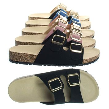 Defeat14 Black By Bamboo, Molded Footbed, Casual Slide In 2 strap Cork Platform Flat Sandal