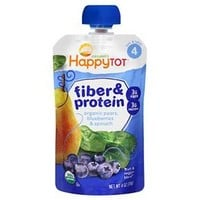 Happy Tot Fiber & Protein Organic Pears Blueberries Spinach - 4oz
