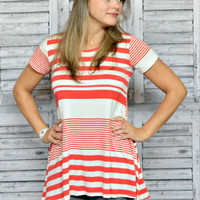 Striped Tunic Top - Coral Short Sleeve