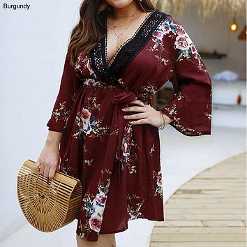 Large size women's 2019 summer new print V-neck dress
