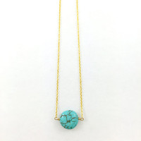 Turquoise Howlite Circle Stone Necklace, Gemstone, Simple, Minimalist, Gold, Round, Wire Wrapped, Delicate, Dainty, Wedding, Bridesmaids
