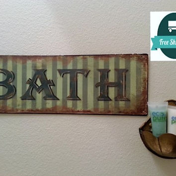 Bathroom Bath Rustic Tin Distressed Large Sign, Green Rust, FREE US Shipping