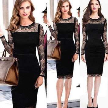 new 2014 Dress Women Vintage office Knee-Length Office formal Lace Crochet Dress Celeb ZIP business Fitted Party Bodycon party Evening Dress = 1956590980