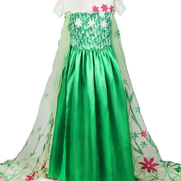 Girls Deluxe Frozen Fever Princess Elsa Green Dress Halloween Costume