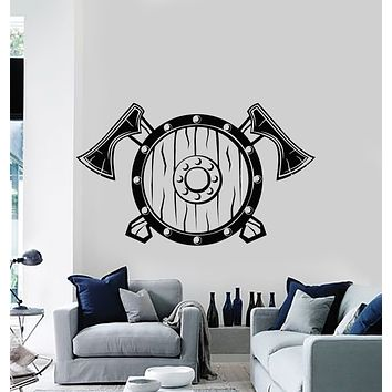 Vinyl Wall Decal  Shield Axes Warriors Viking Weapons Man Cave Stickers Mural (g1251)