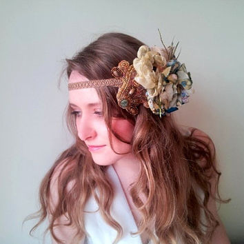 Flower headdress, headband, wedding headpiece, bridal hair, boho, natural wedding, Vintage Handcrafted feather 1920s Flapper - 'Garden Walk'