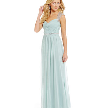 Adrianna Papell Sequined Cap-Sleeve Gown | Dillards