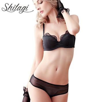 Shitagi Italy Sexy Lingerie Set Elegant Satin Silk Bra Set Push up Bra Ruffles Lace Bralette French Underwear woman Thin Bra