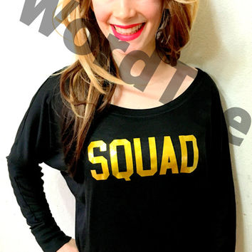Off the shoulder squad bachelorette party shirts black