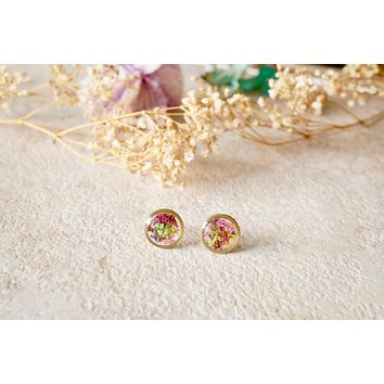 Real Pressed Flowers and Resin Circle Stud Earrings in Purple Yellow Pink Red Green Mix