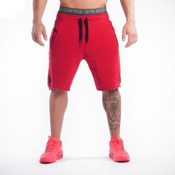 Red Black Gray Knee High Men Training Shorts Gym Athletic Workout Sport Exercise Fitness Sweat Shorts