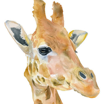 Giraffe Watercolor Painting - 4 x 6 - Giclee Print - African Animal - Nursery Art - Giraffe Painting