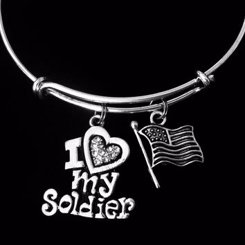 I Love My Soldier Jewerly Adjustable Bracelet Silver Expandable Charm Bracelet Bangle Flag USA Gift