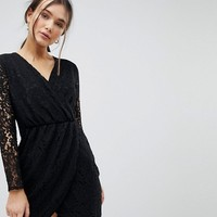 QED London Lace Wrap Front Dress at asos.com