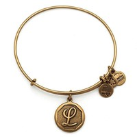Alex and Ani Initial L Charm Bangle Bracelet - Rafaelian Gold Finish