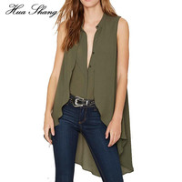 Women Summer Army Green Irregular Long Chiffon Shirts Sexy V Neck Sleeveless Loose Blouse Femininas Casual Women Tops Plus Size