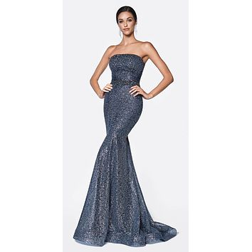 Floor Length Strapless Mermaid Gown Midnight Blue Flocked Glitter Fabric