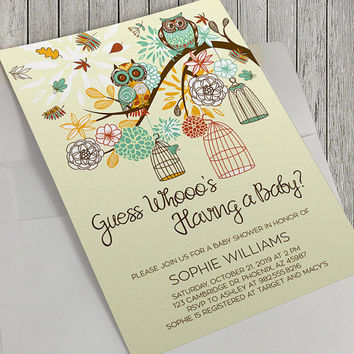 Printable Baby Shower Invitation, Autumn Baby Shower, Autumn Owls, Bird Cages Baby Shower, Autumn Flowers, 5x7 inch, Guess Whooo's, Stylish