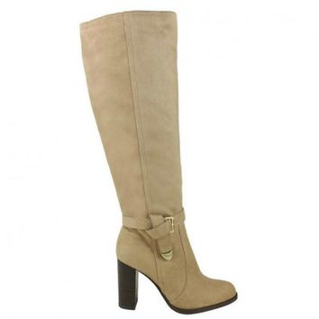 Jacob-02 Suede Knee High Riding High Heel Boots