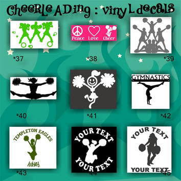 CHEERLEADING vinyl decals - 37-45 - car stickers - cheerleader sticker - car decal - custom vinyl decals - personalized stickers