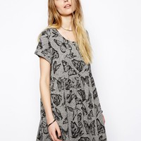 ASOS Smock Dress In Texture With Butterfly Print
