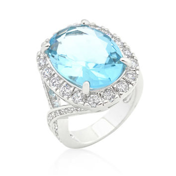 Kaylin Aqua Blue Cushion Cut Halo Cocktail Ring | 15ct | Cubic Zirconia | Silver