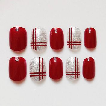 24 Pcs/ Set Fashion Red Fake Nail With Glitter Acrylic Full Cover False Nails Square Nail Art for Girls Women @ME88