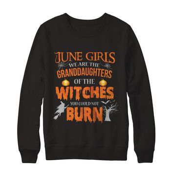 June Girls We Are The Granddaughters Of The Witches You Could Not Burn Halloween Family Birthday Sweatshirt