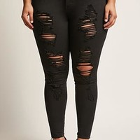 Plus Size Distressed High-Rise Jeans