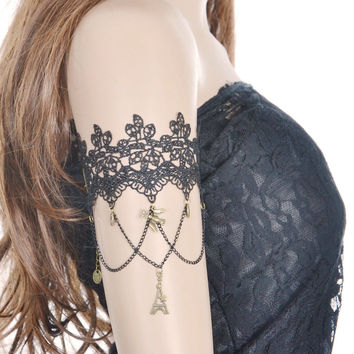 Arm Chain Black lace arm cuff bracelet elegant fashion jewelry