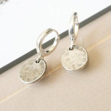 Small Silver Disc Earrings, Silver Disc Earrings, Small Disc Earrings, Disc Earrings, Small Disc