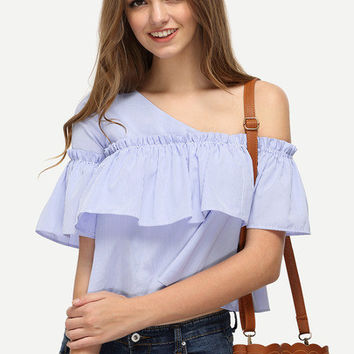 One Shoulder Ruffle Blouse [6259173508]