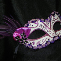 Purple and White Ladies Mask