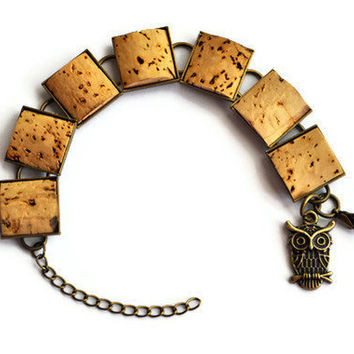Wine Cork Antique Brass Bracelet with Owl Charm
